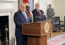 "Maryland Gov. Larry Hogan speaks to reporters in Annapolis on Thursday Nov. 9, 2017. Hogan called the results of an audit into Prince George's County graduation rates ""disturbing."""